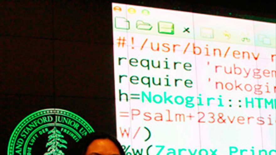 La ganadora del concurso de poesía con código de Stanford (Foto: Mariana Lage)