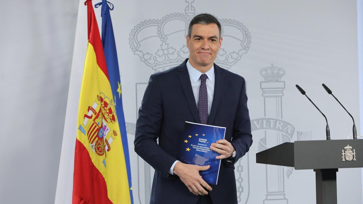 El presidente del Gobierno, Pedro Sánchez, durante la presentación del Plan de Recuperación, Transformación y Resiliencia.