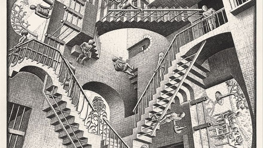 Relatividad 1953 Litografía, 27,7x29,2 cm The Escher Foundation Collection All M.C. Escher works © 2017 The M.C. Escher Company. All rights reserved