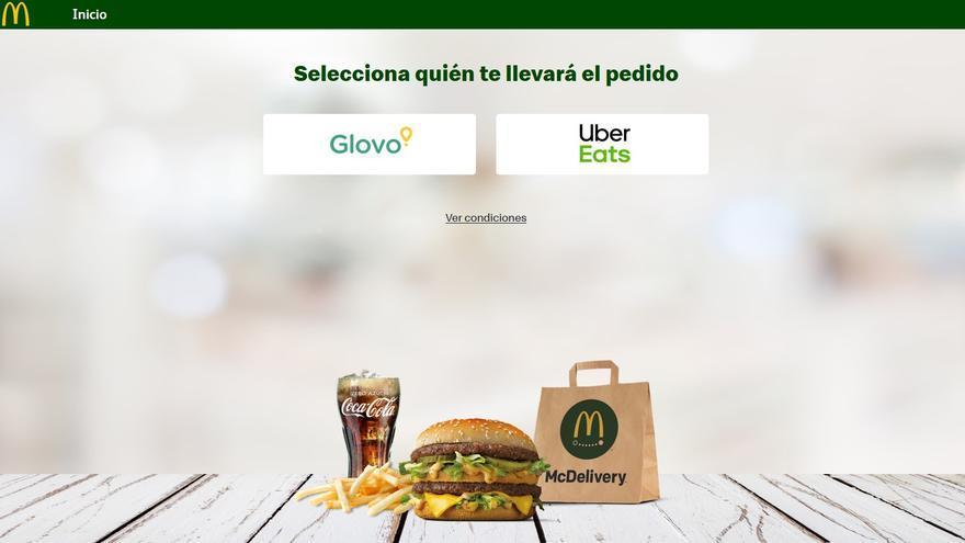 Captura de la página web de McDonald's en la que ofrecen su servicio a domicilio, McDelivery.