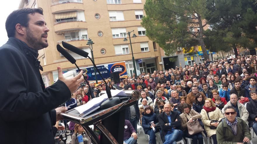 Alberto Garzón durante el mítin