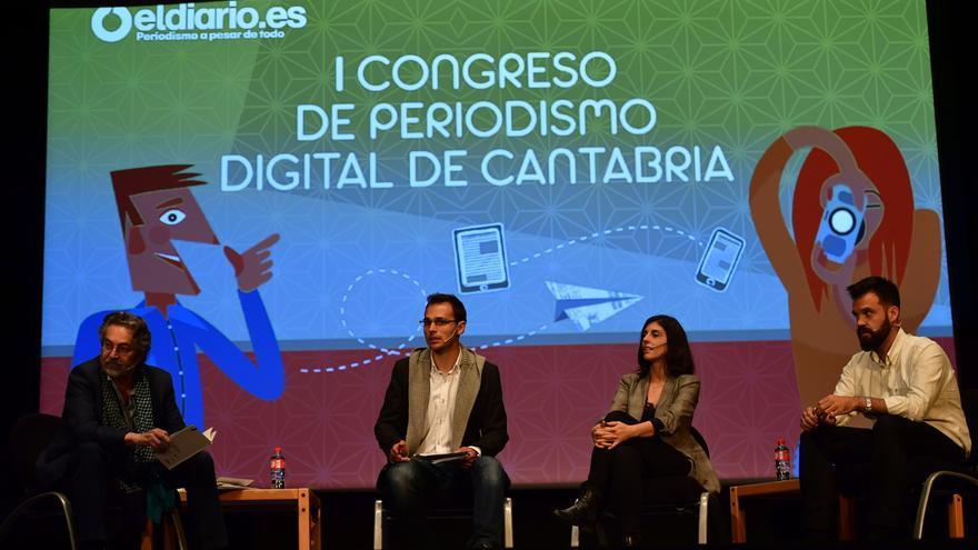 Antonio Rubio, Rubén Vivar, Raquel Ejerique e Ignacio Calle en la mesa redonda sobre periodismo de investigación.   EL REY LAGARTÓN