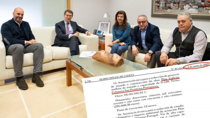Feijóo con los alcaldes de la zona a los que el pasado martes volvió a prometer la mejora de la carretera que comunica el suroeste de la provincia de Ourense con Portugal