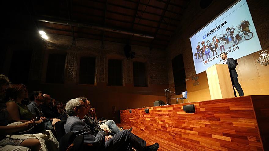 El director de eldiario.es, Ignacio Escolar, en el acto del tercer aniversario de eldiariocv.es