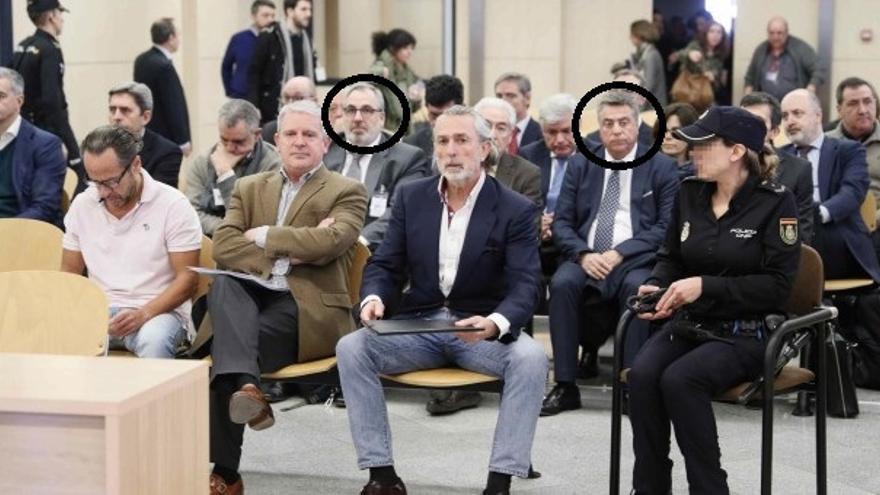 Vicente Cotino y Enrique Ortiz, con un círculo, en el juicio en que confesaron haber financiado al PP valenciano.
