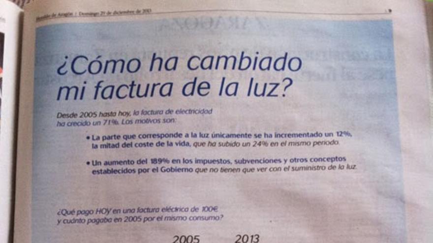Publicidad de Endesa sobre el recibo de la luz.