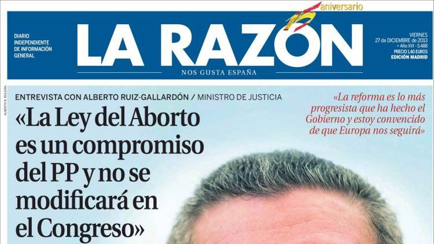 Portada del diario La Razón del 27 de diciembre.