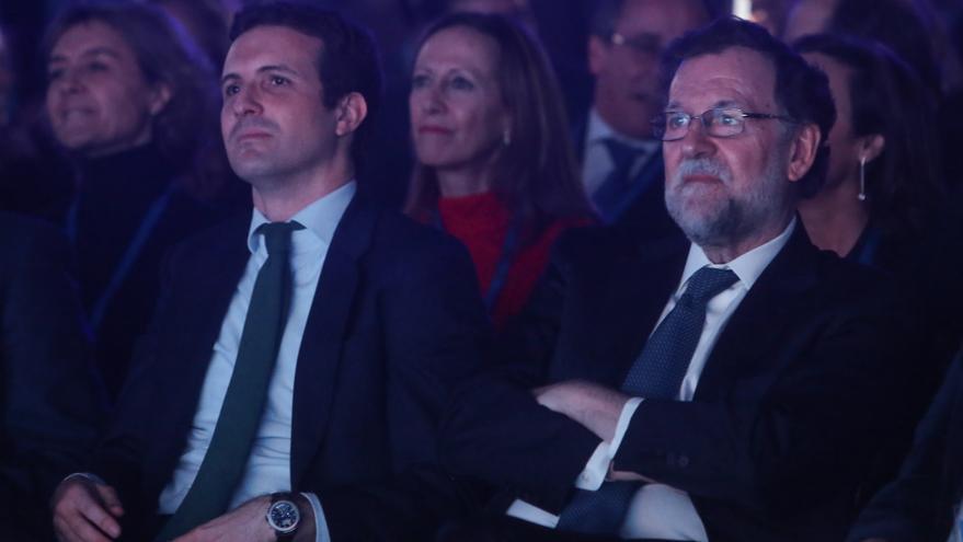 Pablo Casado y Mariano Rajoy en la Convención Nacional del PP.