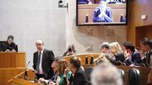 Javier Lambán, en plena intervención parlamentaria.