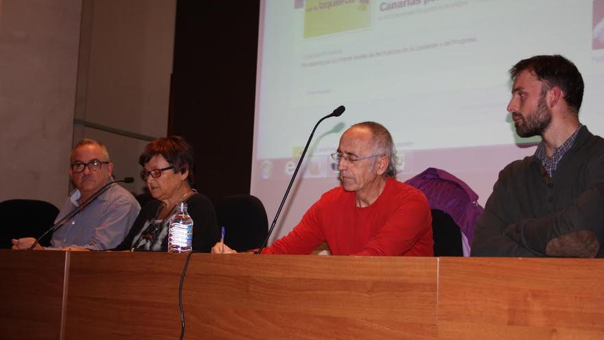 Joan Tafalla, Isabel Suárez (Canarias por la Izquierda), Manuel Bayona y Tom Kucharz