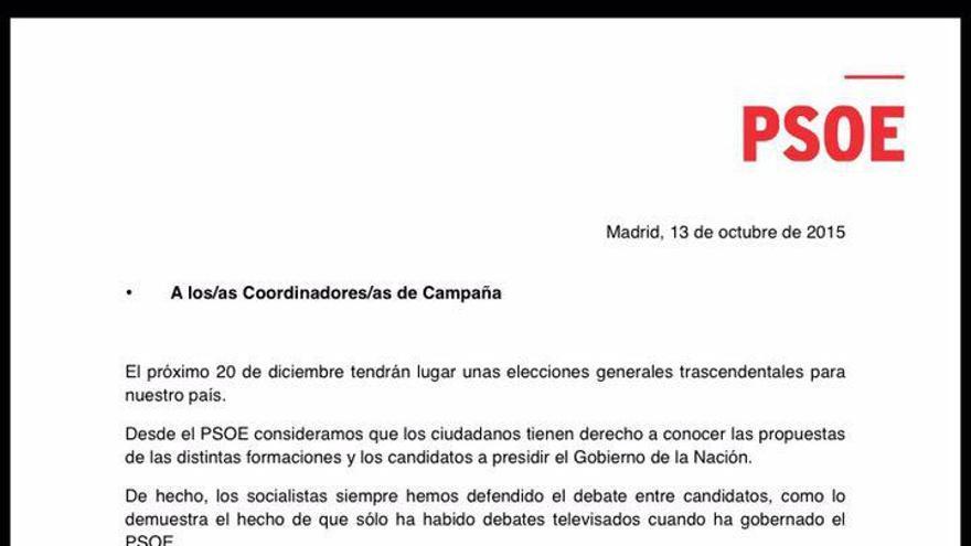 El PSOE envía una carta a todos los partidos con una propuesta de debate entre los 16 candidatos.