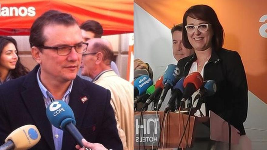 El diputado de Cs por Murcia en el Congreso, Miguel Garaulet e Isabel Franco, candidata a la presidencia de Murcia