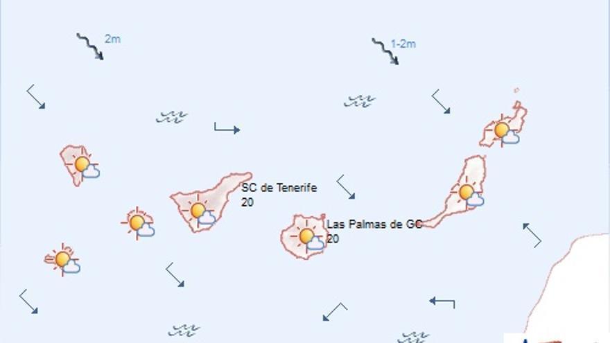 Previsión de la Agencia Estatal de Meteorología en Canarias para este viernes, 14 de noviembre de 2014.