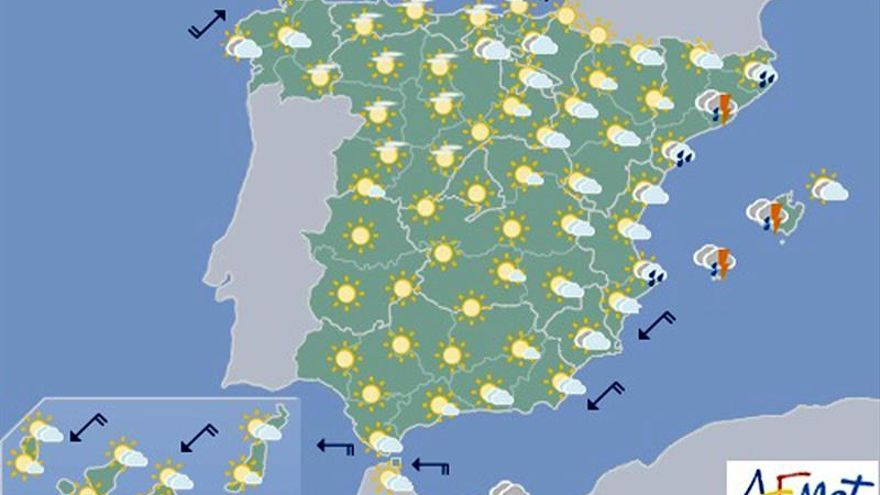 Aemet prevé para hoy fuertes lluvias en Cataluña, Balares y Galicia