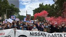 Protesta de trabajadores de Nissan.