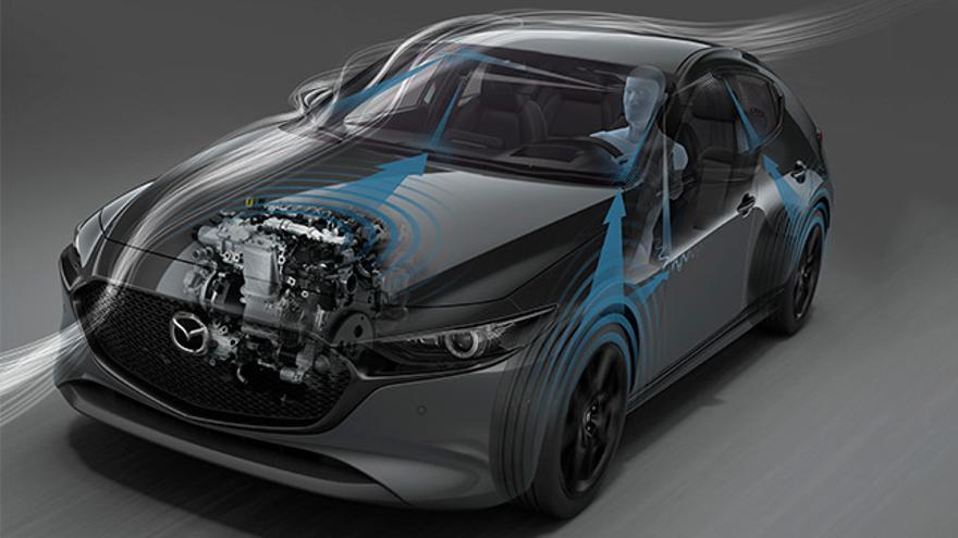 Mazda ha escogido cuidadosamente los compuestos que rodean al motor para aislar todo lo posible el ruido que proviene de él.