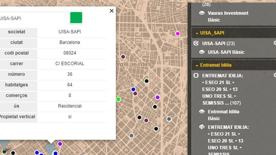 El piso de Escorial, 36, en el mapa del Sindicato de Inquilinos