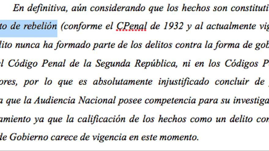 DOCUMENTO: Fragmento del auto del Tribunal Supremo de admisión de la querella contra Baltasar Garzón.