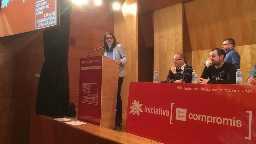 Mónica Oltra, durante la conferencia política de Iniciativa.