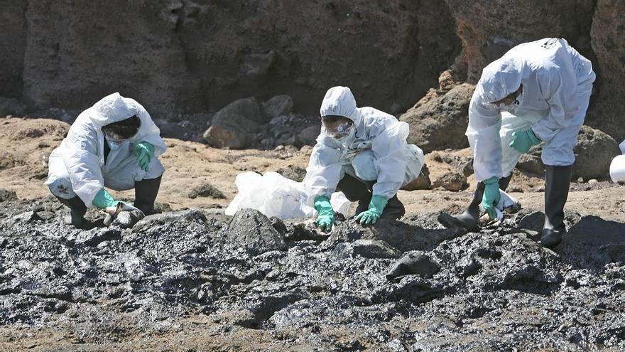 Trabajos de limpieza del vertido de fuel en la playa de Arinaga. (ALEJANDRO RAMOS)