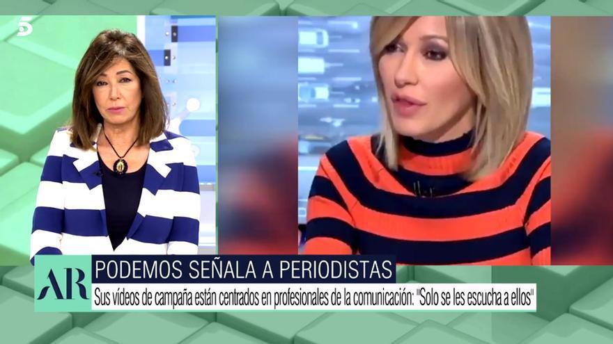 Ana Rosa Quintana, mientras se ve el vídeo y aparece Griso