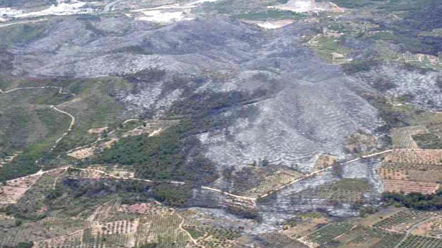 Vista aérea de la zona arrasada por el fuego en la Sierra Calderona
