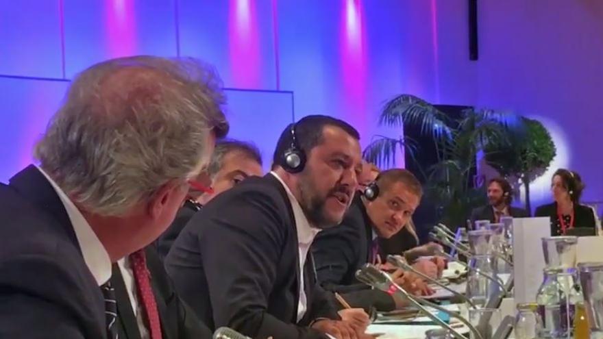 Matteo Salvini, durante la conferencia ministerial sobre migraciones en Viena