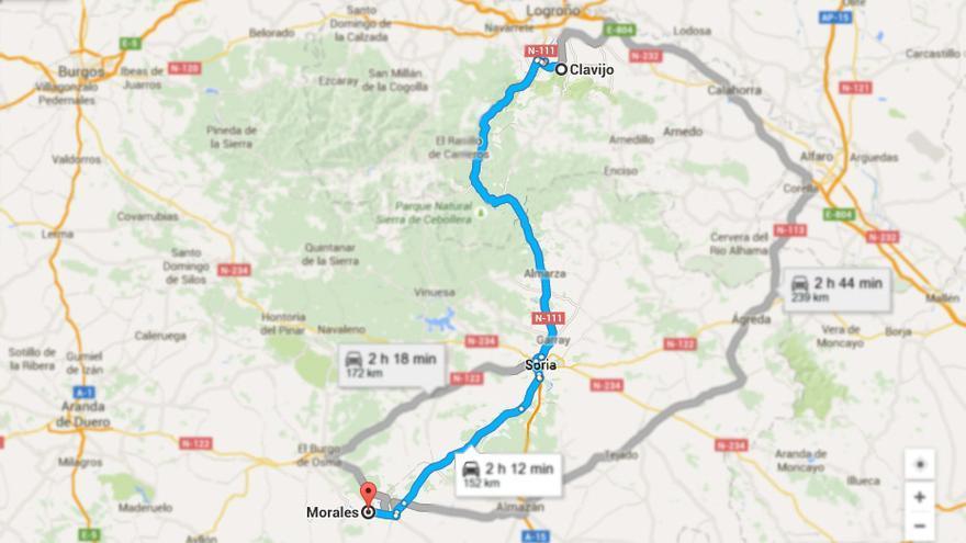 Ruta desde Clavijo a Morales, en Soria. (Fuente: Google Maps).