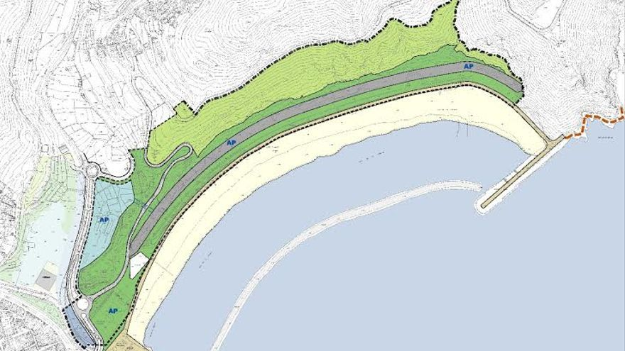 Plano de la playa de Las Teresitas a ejecutar.