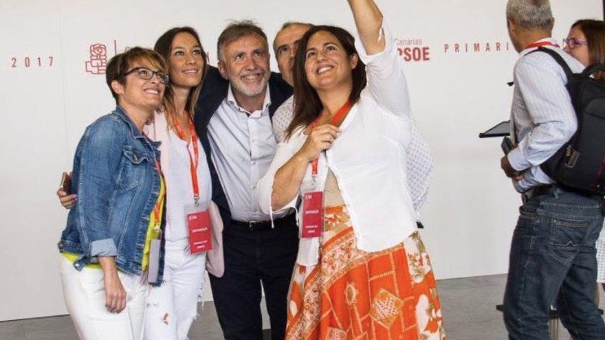 Elena Mañez, Nira Fierro, Ángel Víctor Torres y Juana González durante el proceso de primarias en Canarias del pasado mes de julio.