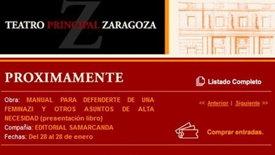 Pantallazo del anuncio de la presentación del libro, ya eliminado de la web del Teatro Principal.