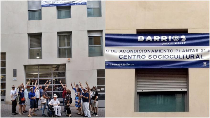 Miembros de la Plataforma Maravillas señalan el cartel que indica que las obras en San Bernardo 68 son para un centro sociocultural   SOMOS MALASAÑA