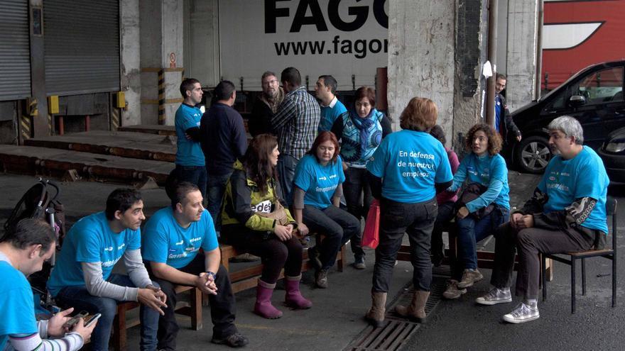 Trabajadores de Fagor Electrodomésticos durante su encierro en Basauri. /EDN.