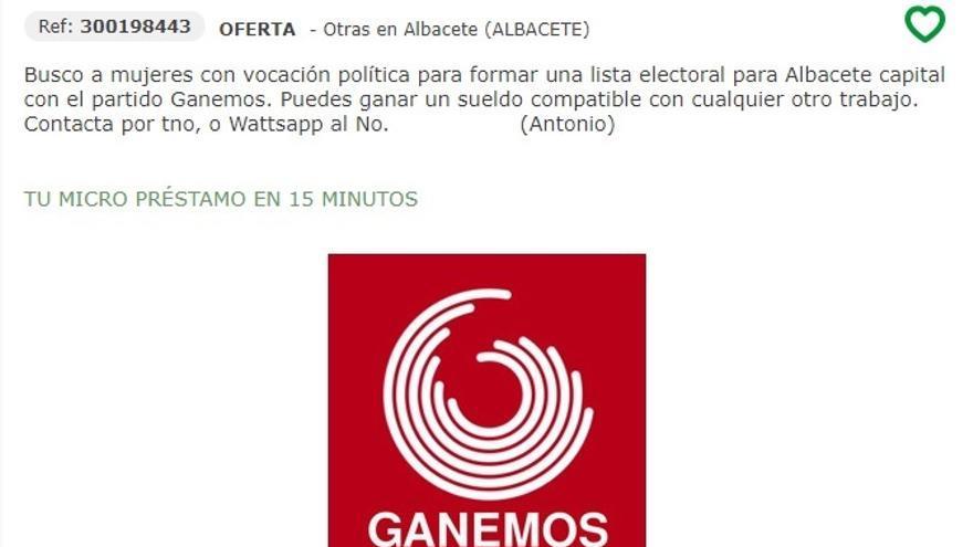 Captura de pantalla del anuncio buscando concejales para Albacete.