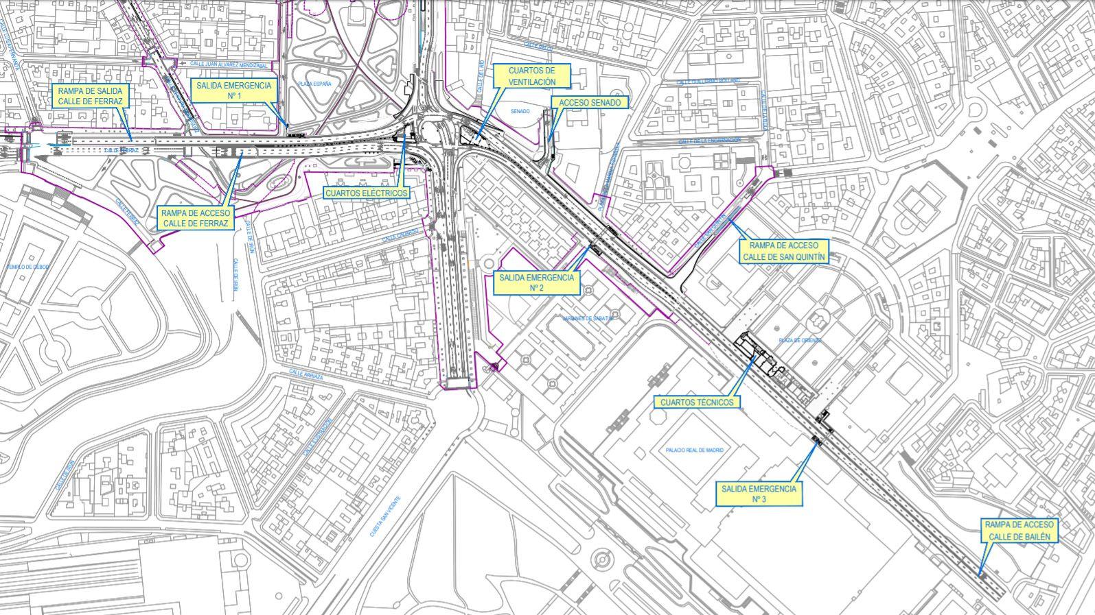 Detalle del nuevo túnel que conectará Bailén con Ferraz