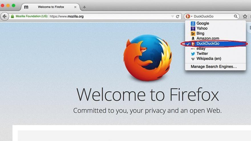 La nueva versión de Firefox introduce DuckDuckGo entre los motores de búsqueda ofrecidos