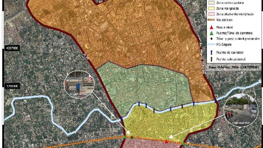 MAPA. Zonificación de la ciudad de Murcia según el grado de conectividad con el centro urbano.