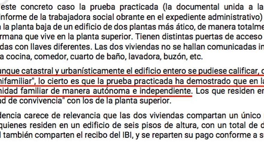 Fragmento de la sentencia que obliga a la Xunta a mantener la renta de inserción social a una afectada
