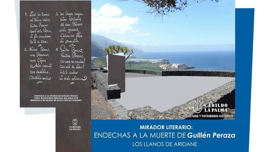 En la imagen, maqueta del  mirador literario dedicado a  Guillén Peraza y que estará ubicado en los Llanos de Aridane con vistas a Puerto de Naos.