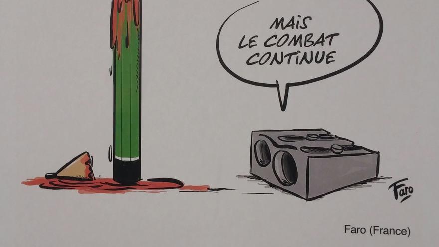 Viñeta de la exposición 'Lápices contra las armas' en honor a la libertad de expresión creada por el dibujante francés Faro.