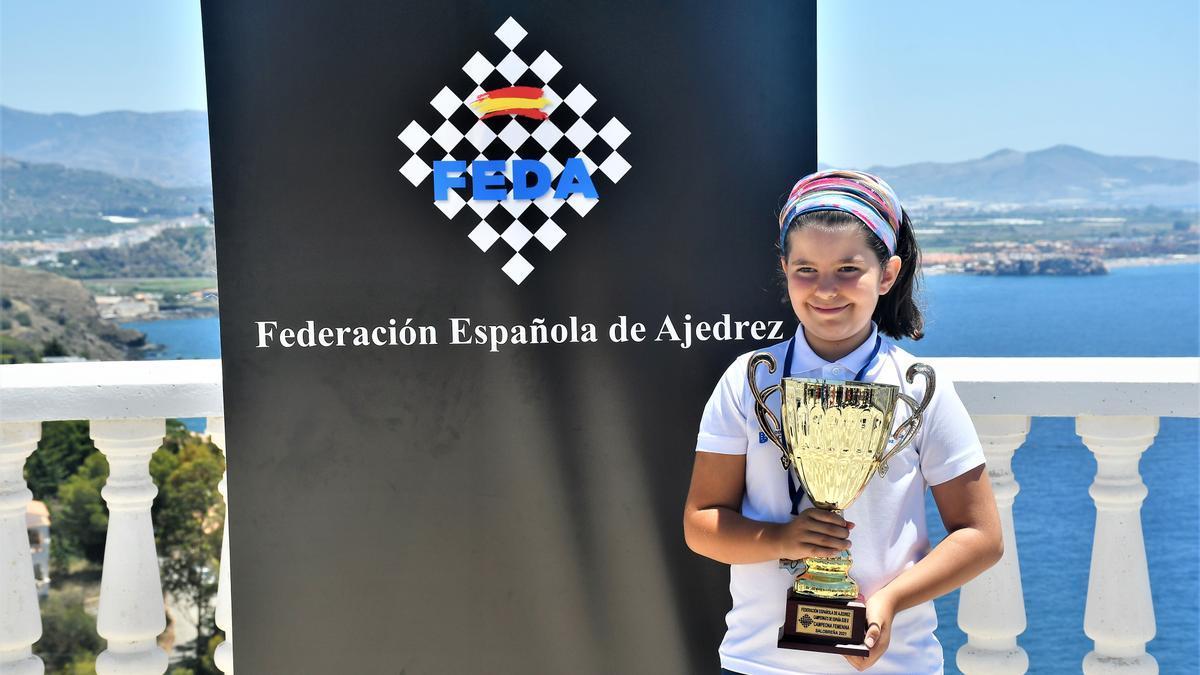 Yraya De León (Club Al Shah Mat Los Realejos), campeonato de España Sub 8.