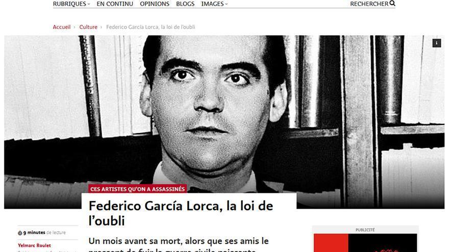 'Federico García Lorca, la loi de l'oubli', titular de Le Temps.