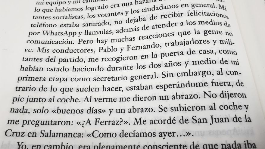 Fragmento de 'Manuel de resistencia', el libro firmado por el presidente del Gobierno Pedro Sánchez.