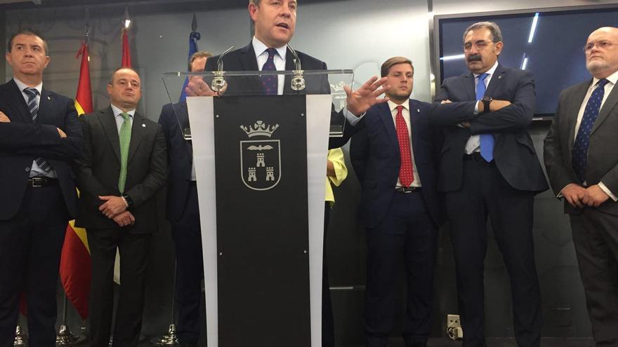Emiliano García Page comparece ante los medios de comunicación, esta mañana en Albacete