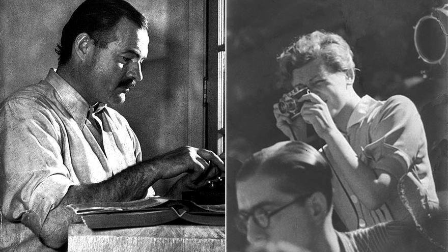 A la izquierda: Ernest Hemingway. A la derecha: Gerda Taro.