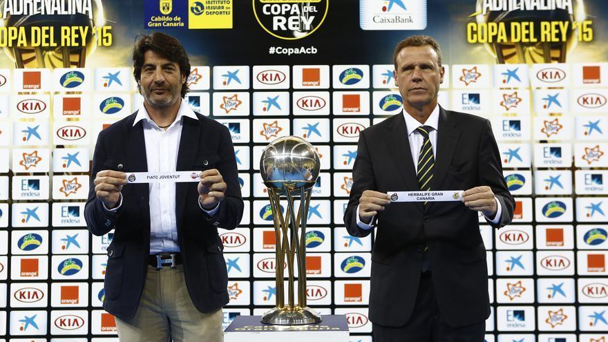 El presidente del Joventut, Jordi Villacampa, y Juan Ramón Marrero. ACB Photo.