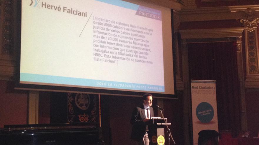 Hervé Falciani en un acto del Partido X / I.C.