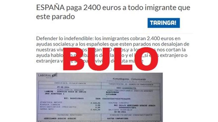 No, España no paga 2400€ a todo inmigrante parado
