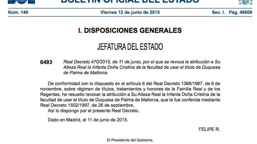 Real Decreto que revoca el título de duquesa a Cristina de Borbón