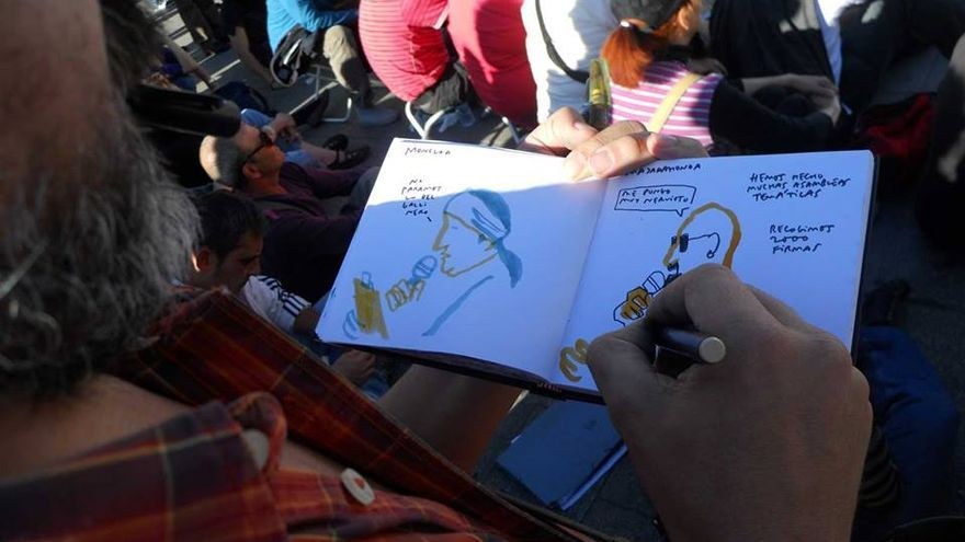Dibujando gente reunida en círculos